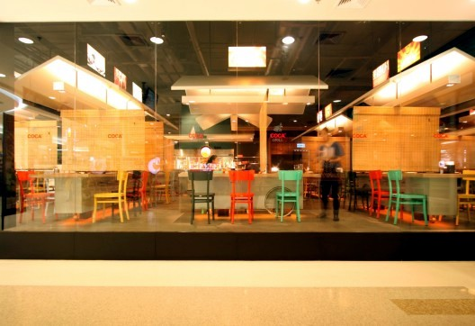 A restaurant with colorful decor