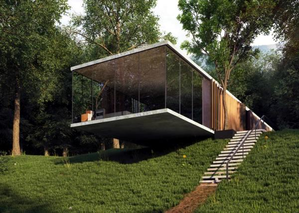 Room glass house design with perfect balance built on a slope