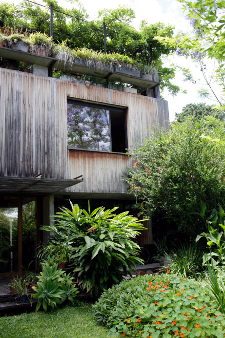 A wooden house surrounded by greenery