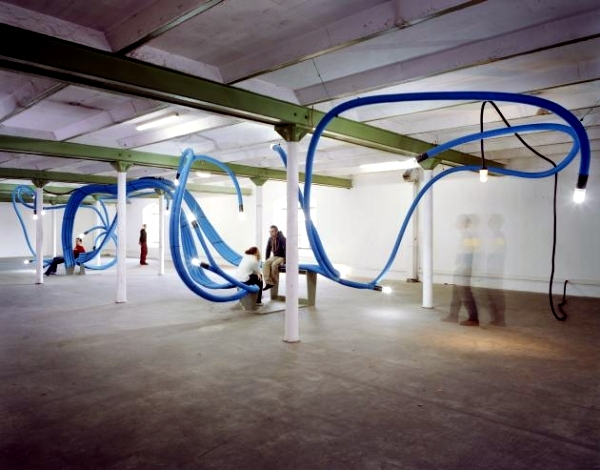 Art installations made of polyethylene tubes of Sebastien Wierinck