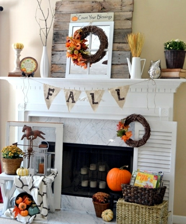 Autumn decorate the mantel-25 creative craft ideas