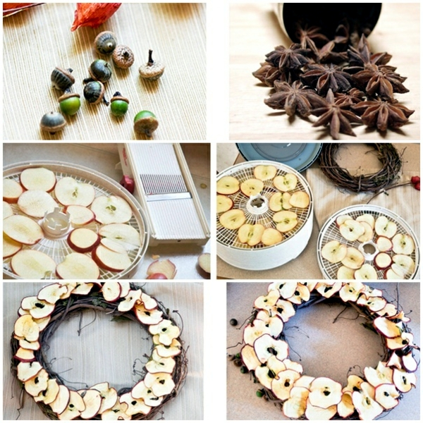 Autumnal decorating - make door wreath with apples themselves