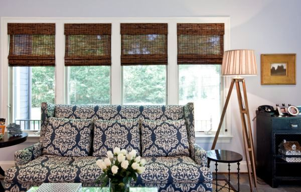 Bamboo window blinds for indoor sun protection with natural beauty