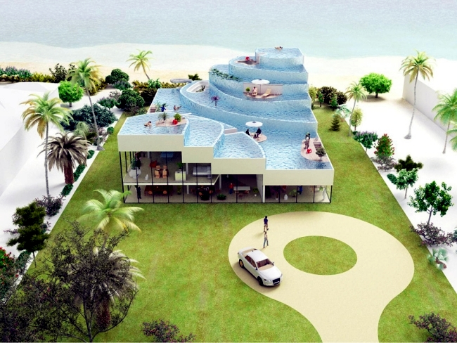 Beach house with rooftop pool - a futuristic projects by NL architects