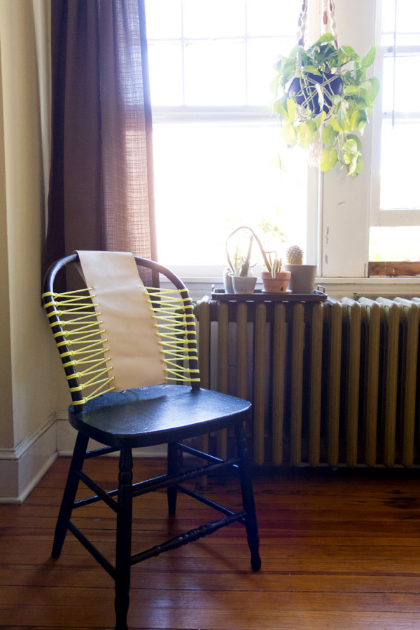 Beautify an old chair itself - backrest and leather cord