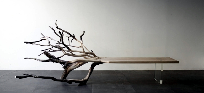 Bench Design With Natural Wood Looks Like A Fallen Tree Interior
