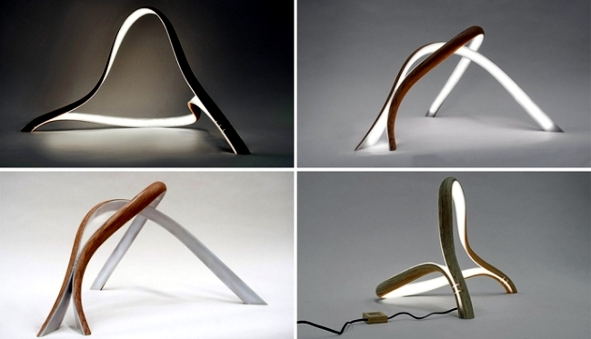 Bent wood sculptural lamps by John Procario to the ...