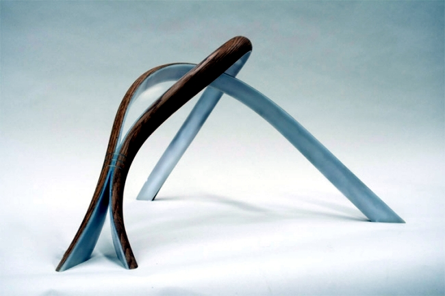 Bent wood sculptural lamps by John Procario to the breaking point