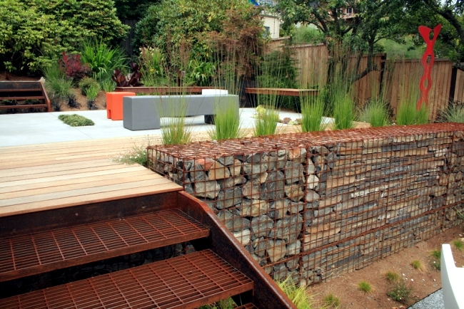 Build raised beds benches and gabion fence itself for Grid landscape design