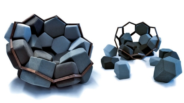 Chair design in geometric shapes resembling natural crystalloids