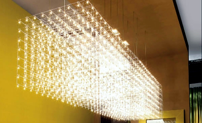 Chandelier design adds a touch of glamor to the establishment