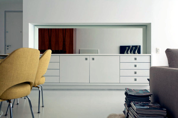 Chic white apartment design in minimalist style
