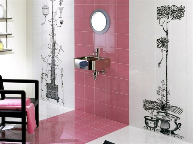 Colorful ceramic tiles with happy motifs decorate the dream bathroom ...