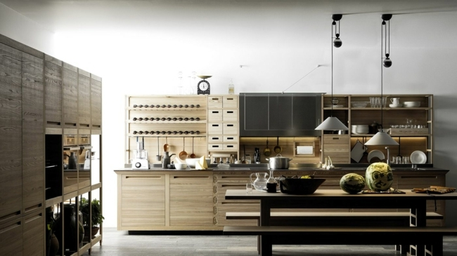 Combine Glamorous Italian Kitchen Glass Wood And