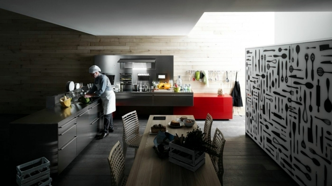 Combine glamorous Italian kitchen glass, wood and stainless steel
