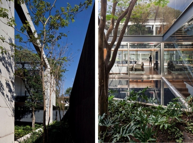 Concrete building with glass facade of Una Arquitetos offers living close to nature
