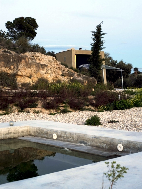 Concrete House With Extensive Green Roof In Alicante