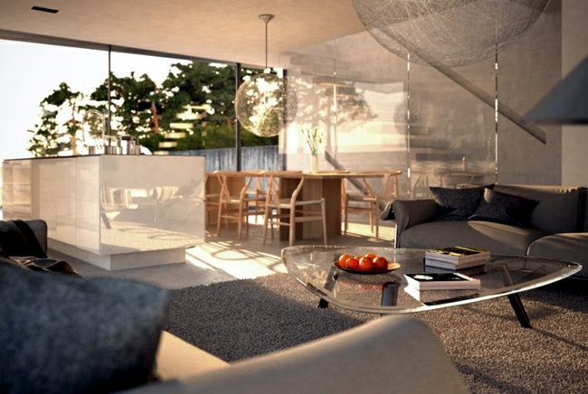 Construction - Project for modern solid concrete house and glass