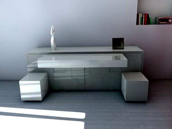 Contemporary sideboard inspired by Tetris Game - Space-saving furniture