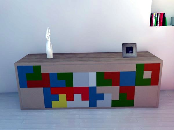 Design With Colorful Drawers Contemporary Sideboard Inspired By Tetris Game    Space Saving Furniture