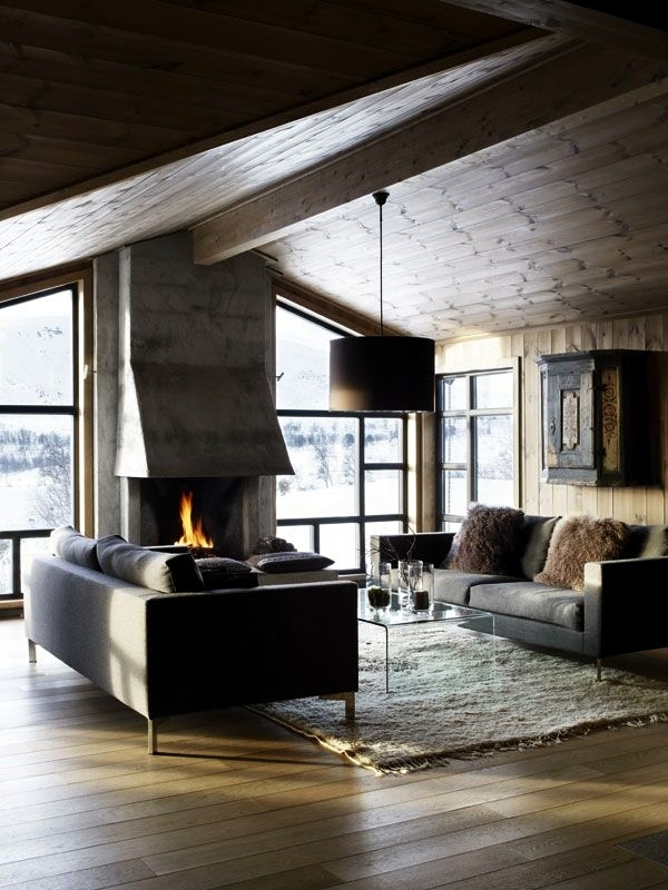 Cozy at home with knitting, wool and fur furniture and ceilings