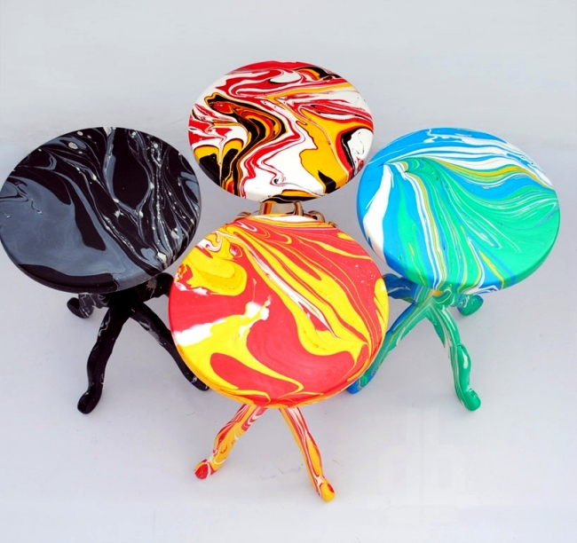 Creates Colored Stools Designs With Special Marble