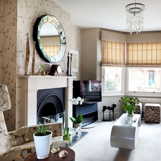 Creative wall design in the living room ideas for - Interior design living room wallpaper ...