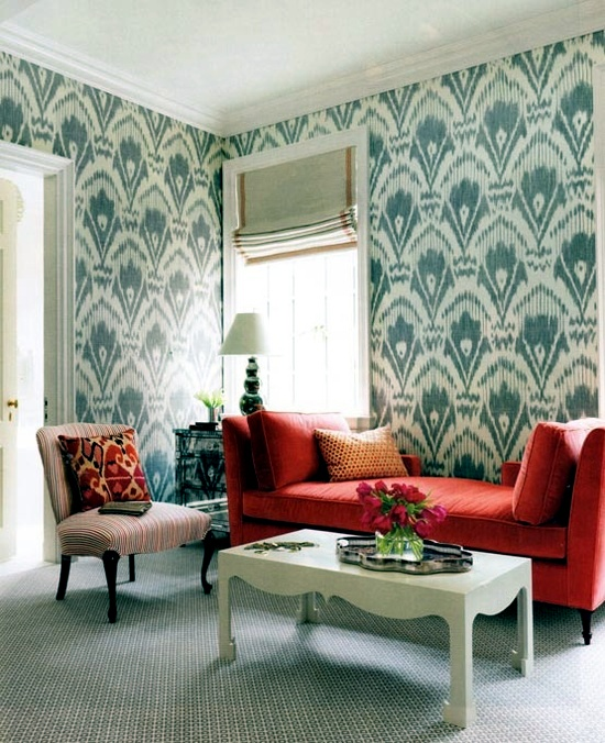 Creative wall design in the living room - ideas for colorful wallpapers