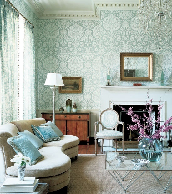Creative wall design in the living room ideas for Blue wallpaper for living room