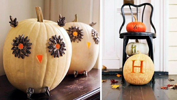 Creepy and unusual halloween decoration with pumpkins - Decoration halloween facile a faire ...