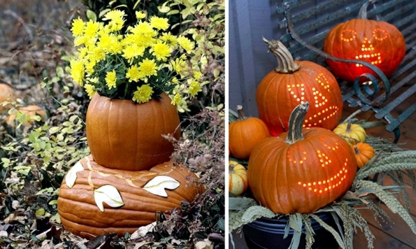 Creepy and unusual Halloween decoration with pumpkins