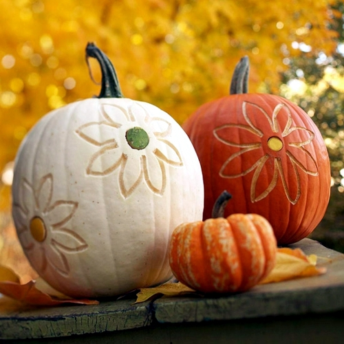 Decorate pumpkins without carving crafts with children Flower painted pumpkins