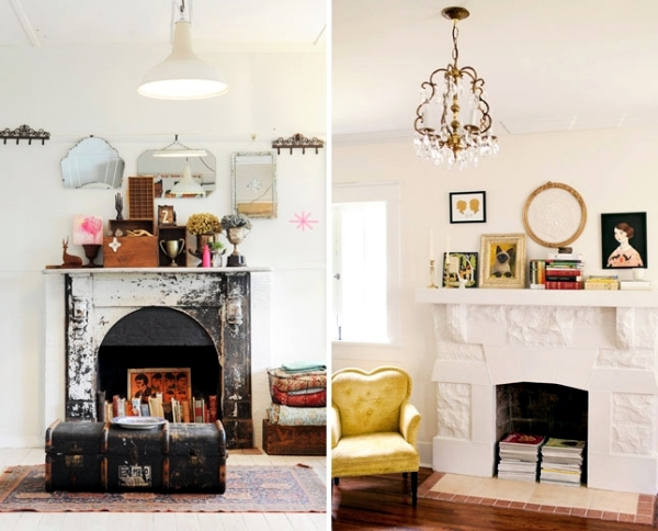 Decorate the unused fireplace in the living room - 20 creative decorating  ideas