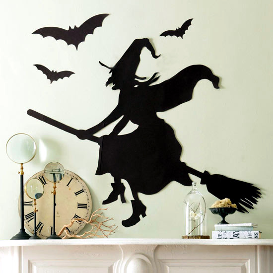 decorating ideas for halloween party witch and bat silhouettes - Halloween Bat Decorations