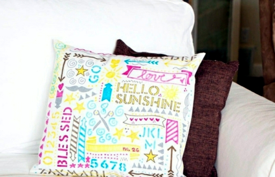 Decorative pillows make reference itself - creative gift idea for crafting