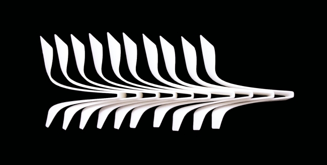 Design concept for a spiral staircase made of fiberglass from Disguincio