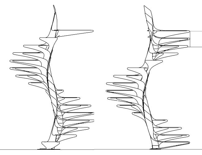 Design concept for a spiral staircase made of fiberglass from Disguincio