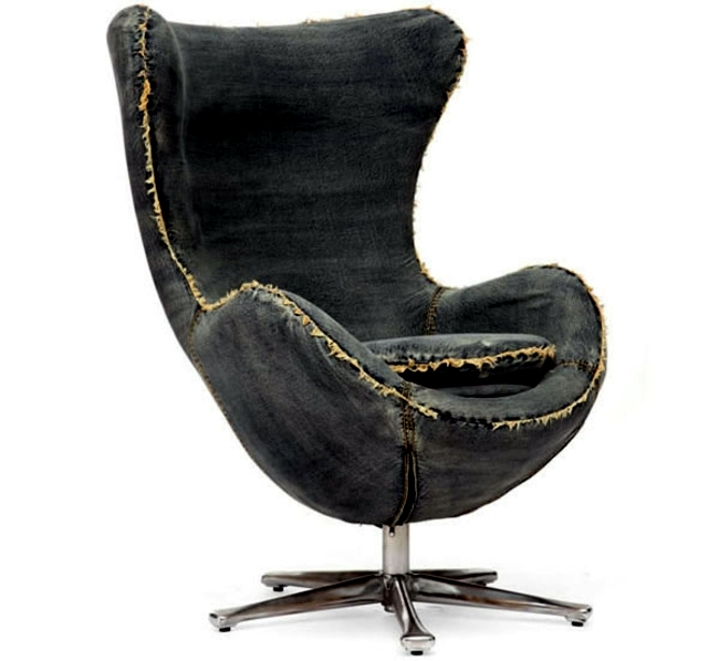 Designer armchair covered with denim - Creativity at its finest