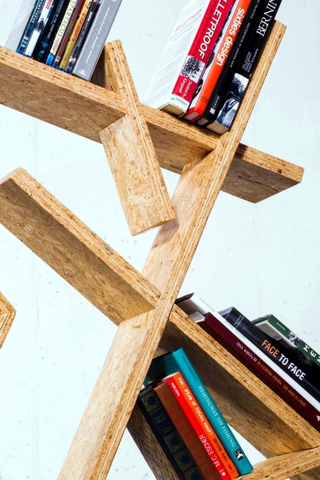 Designer Bookcase Osb With Asymmetric Shape Interior