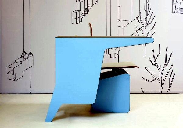 Designer Furniture - composition of desk, swivel chair and shelf