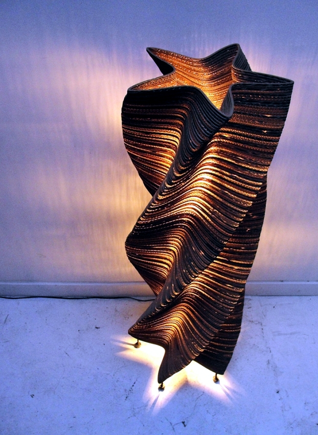 Designer Lamps from recycled cardboard look like works of art from