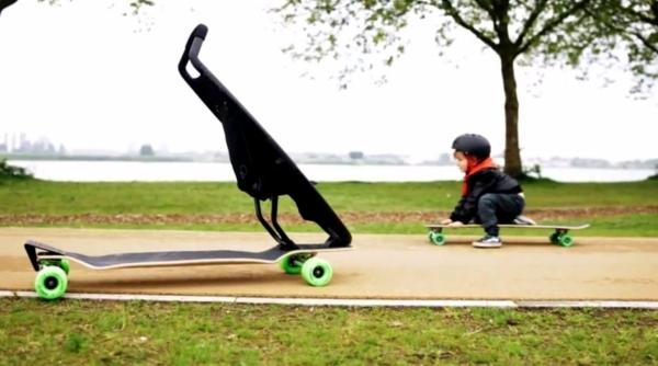 designer pram innovative combination with longboard by