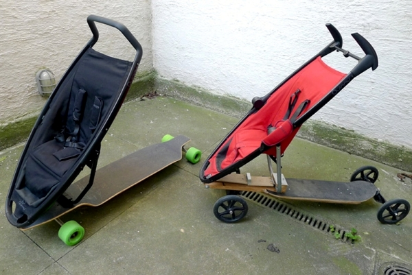 Designer pram – Innovative combination with Longboard by Quinny
