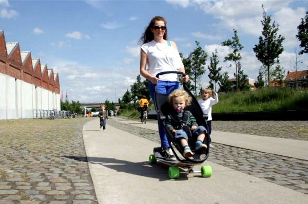 designer pram innovative combination with longboard by
