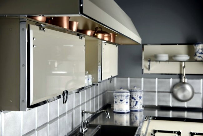 Designer Stainless Steel Kitchen by Officine Gullo in elegant retro style