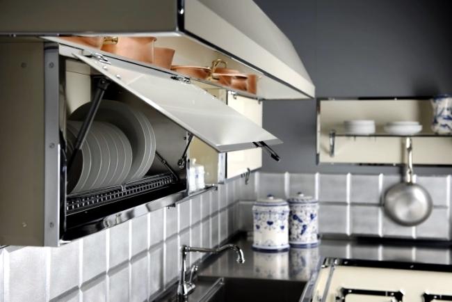 Designer Stainless Steel Kitchen by Officine Gullo in elegant retro style