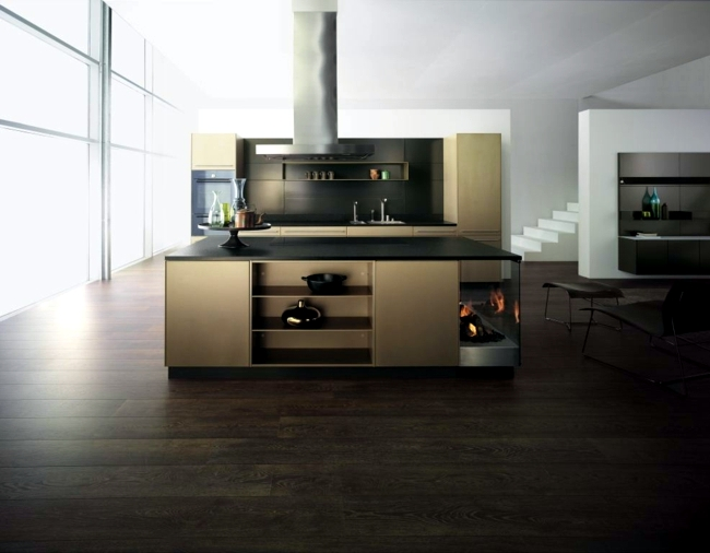 Designer stainless steel kitchen - warming gold piece from Forster