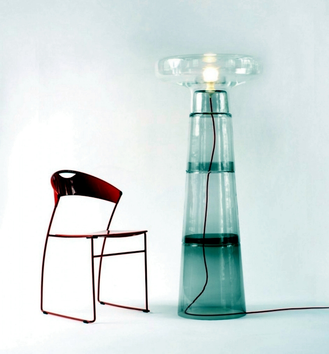 "Designer table / floor lamp made of glass - ""Lighthouse"" by Dan Yeffet"
