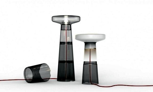 "Designer table / floor lamp made of glass - ""Lighthouse"" by Dan Yeffet"
