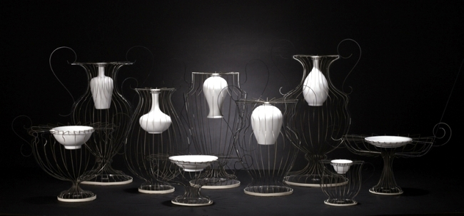 Designer Vases Of Porcelain And Stainless Steel Occident And